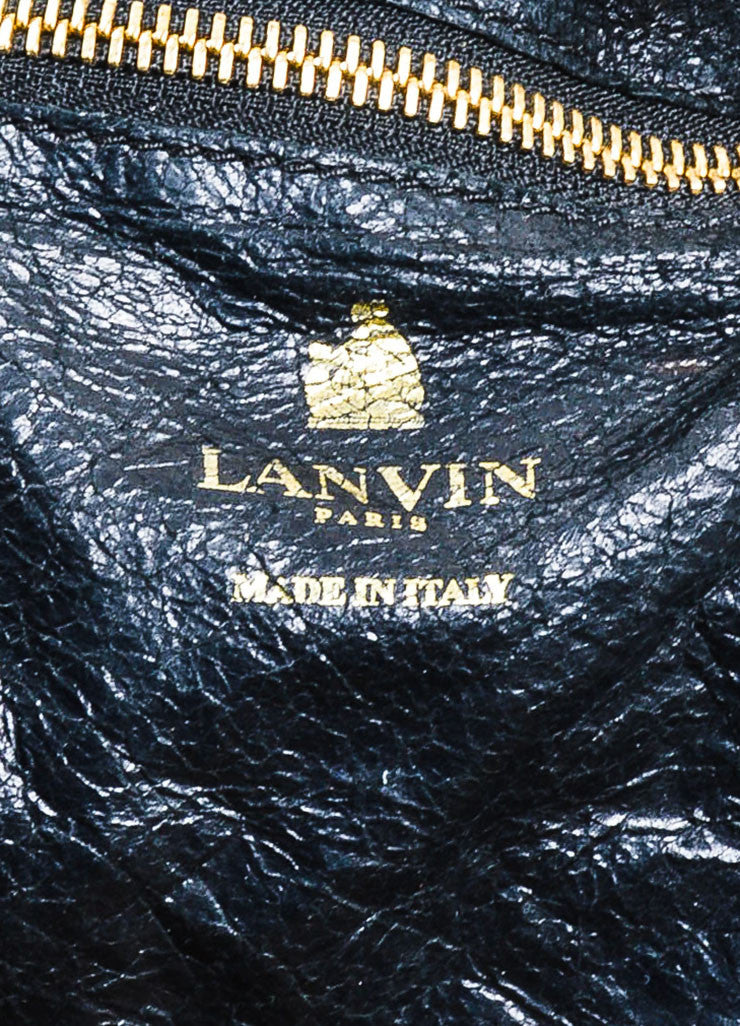 "Black Lanvin Lambskin Leather Chain ""Paper Bag"" Tote Brand"