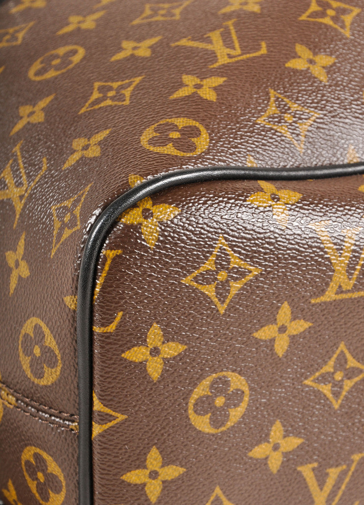 "Louis Vuitton Brown and Black Monogram Macassar Canvas and Leather ""Palk"" Backpack Detail"