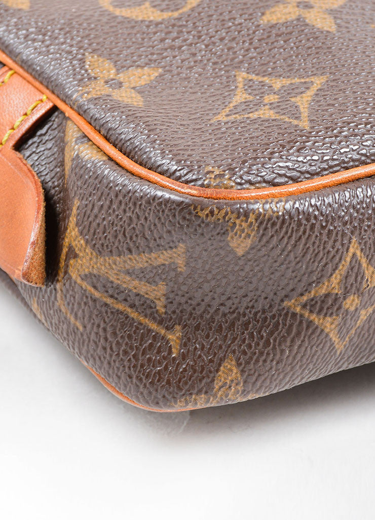 Louis Vuitton Brown Coated Canvas Leather Trim Cross Body Bag Detail