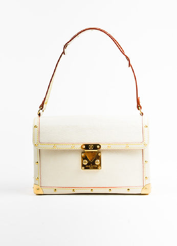 "Louis Vuitton Cream Gold Toned Suhali Leather Studded ""L'Aimable"" Bag Frontview"