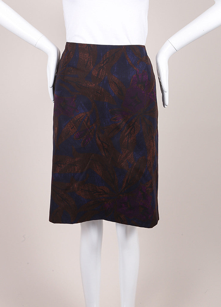 Marc Jacobs New With Tags Brown, Blue, and Purple Leaf Print Cotton Pencil Skirt Frontview
