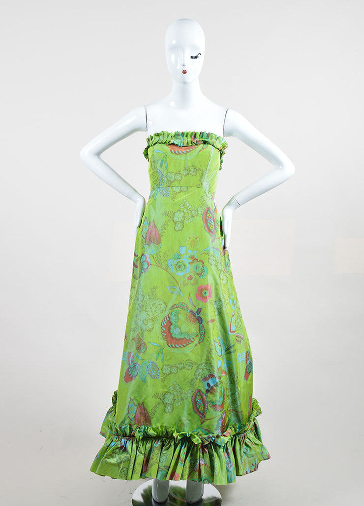 Green, Orange, and Blue Oscar de la Renta Floral Print Strapless Ruffled Gown Frontview