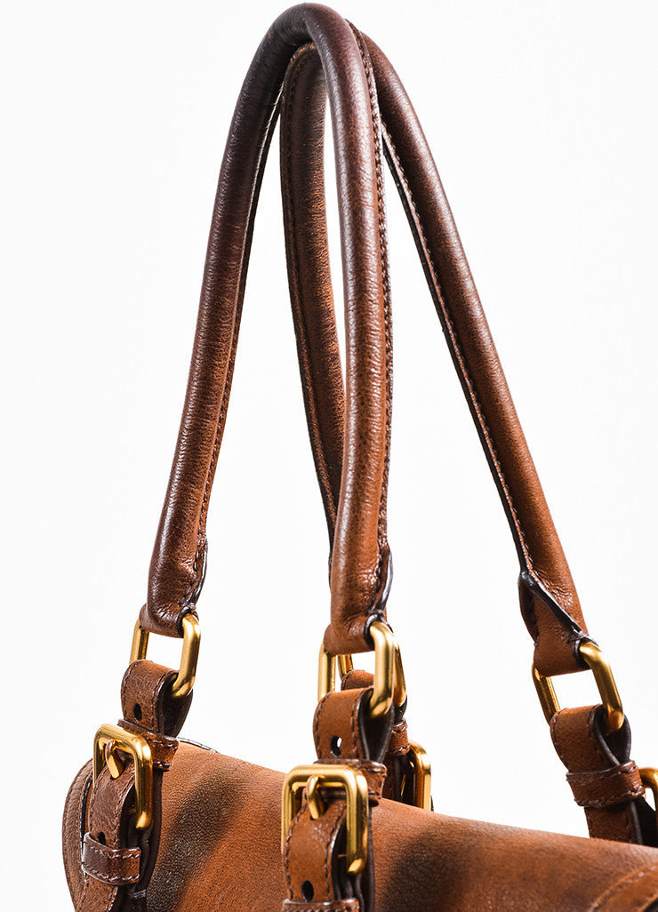 Brown Prada Leather Double Pocket Buckle Top Handle Flap Satchel Bag Detail 3