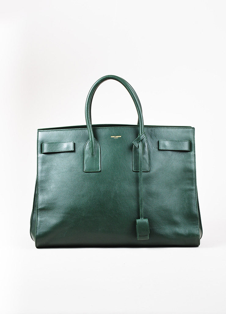 "Saint Laurent Forest Green Leather ""Classic Large Sac De Jour"" Tote Bag"