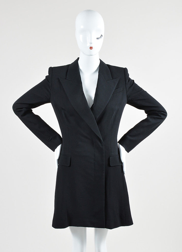 The Row Black Wool Blend Long Sleeve Blazer Dress Frontview