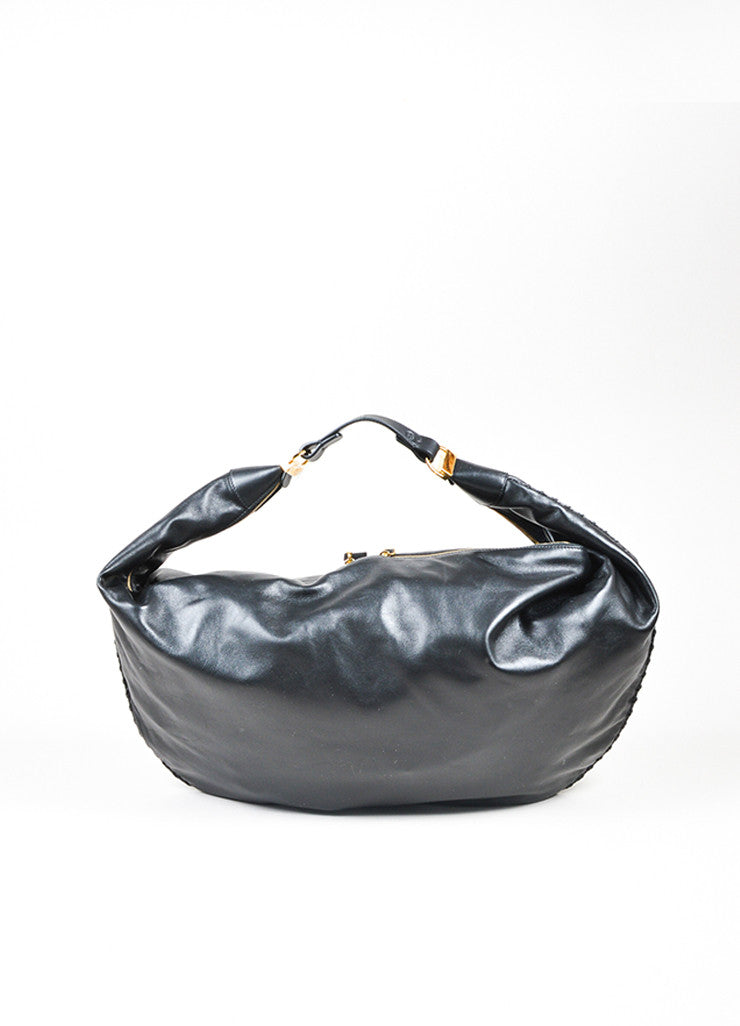 "The Row Black Calfskin Leather Oversized ""Sling 15"" Bag Frontview"
