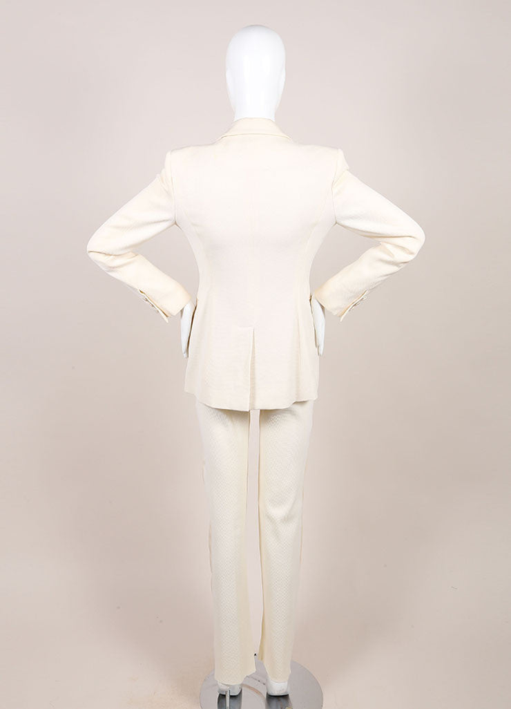 Versace Cream Diamond Textured Wool Tuxedo Pants Suit Backview