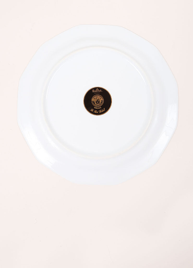"Versace Rosenthal Blue and Green ""Le Roi Soleil"" 10.5 inch Dodecagaon Dinner Plate Bottom View"