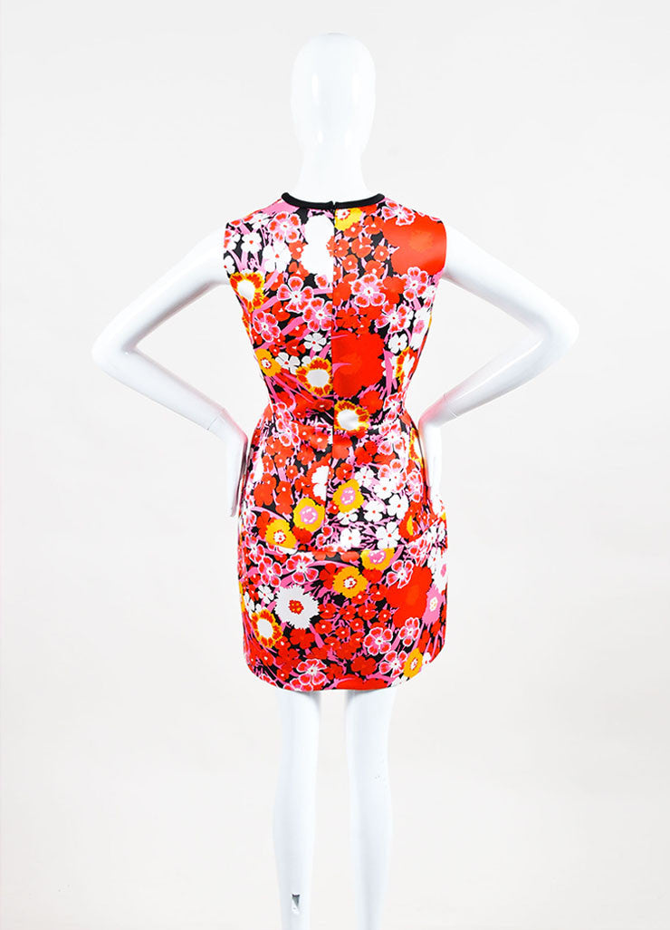 Multicolor Victoria Beckham Floral Sleeveless A Line Dress Back