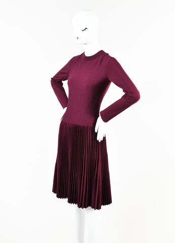 Alaia Berry Purple Wool Blend Knit Pleated A-Line Long Sleeve Sweater Dress Sideview