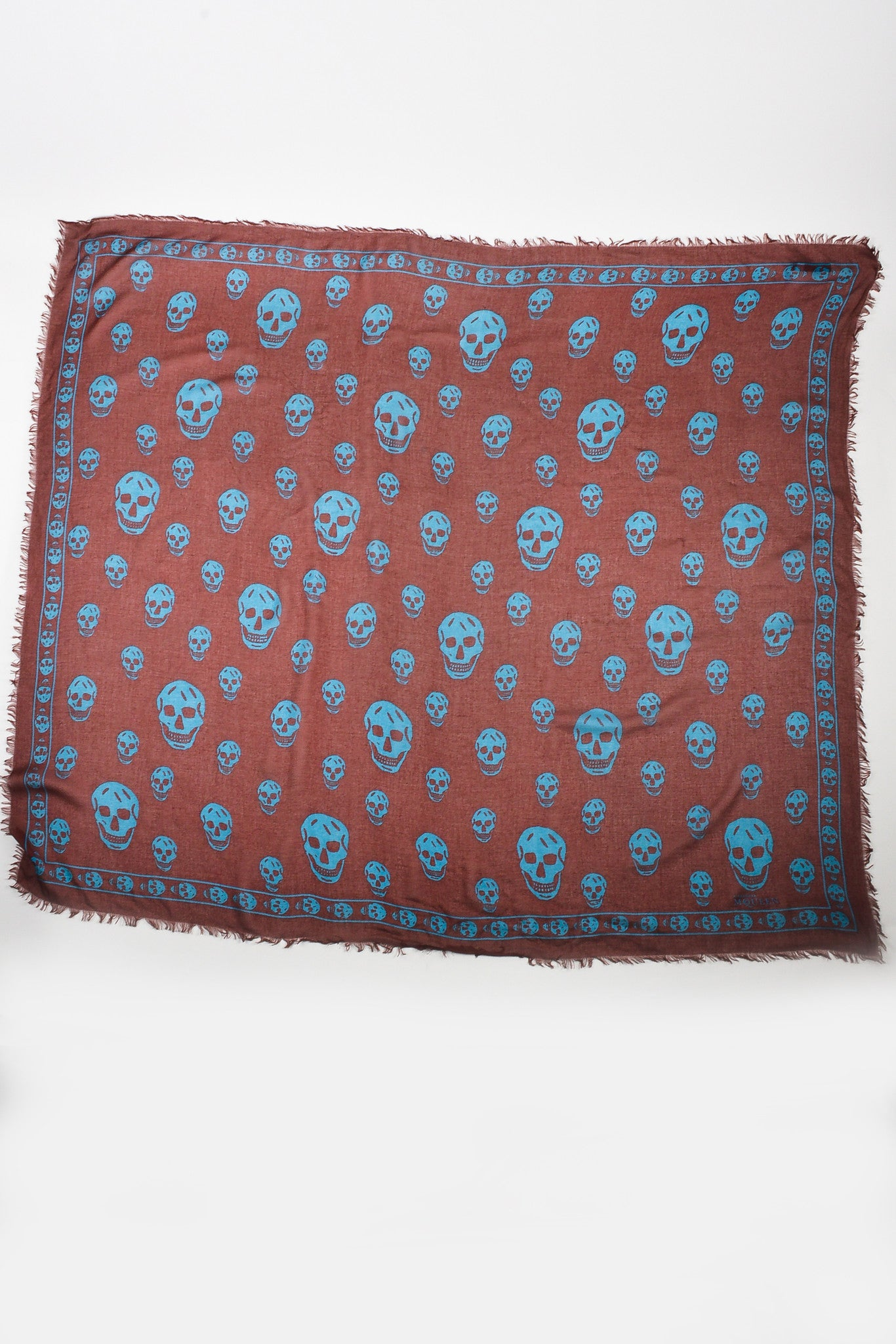 Maroon Blue Alexander McQueen Sheer Skull Print Frayed Square Scarf Front 2
