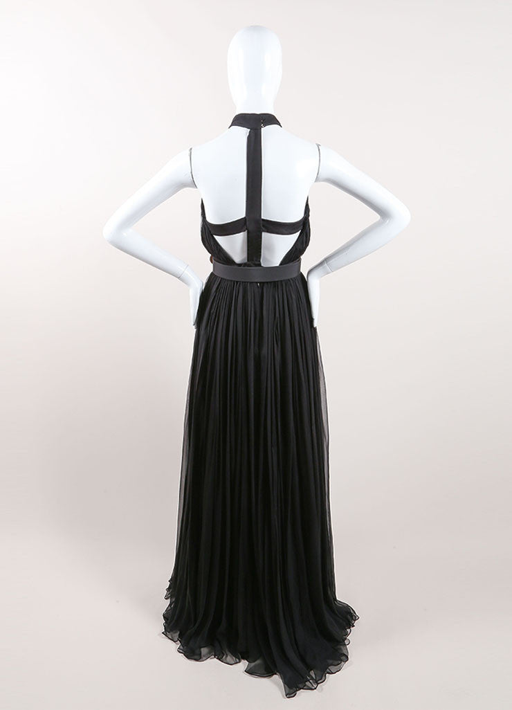 Alexander McQueen Black Silk Chiffon Halter Cut Out Back Gown Backview