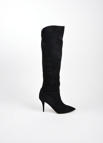 "Black Aquazzura Suede Leather Knee High Stiletto ""Masha"" Boots Sideview"