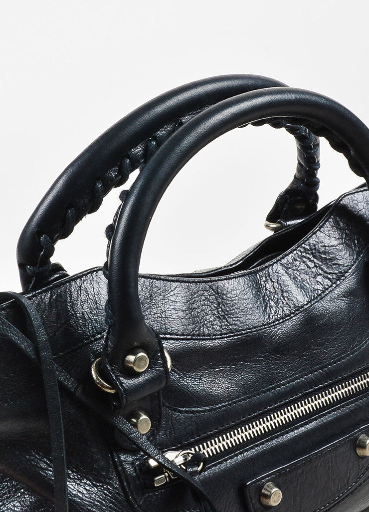 "Balenciaga Black Leather Silver Toned Hardware ""Classic First"" Shoulder Bag Detail 2"