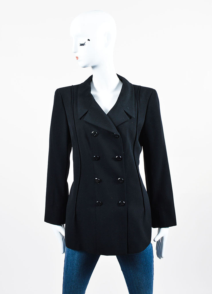 Black Chanel Double Breasted 'CC' Button Jacket Front