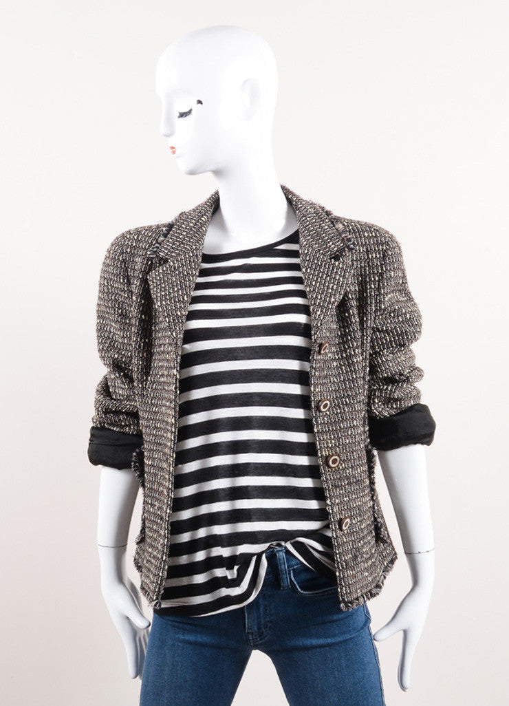 Chanel Black, Cream, and Brown Tweed Knit Fringe Trim Jacket Frontview