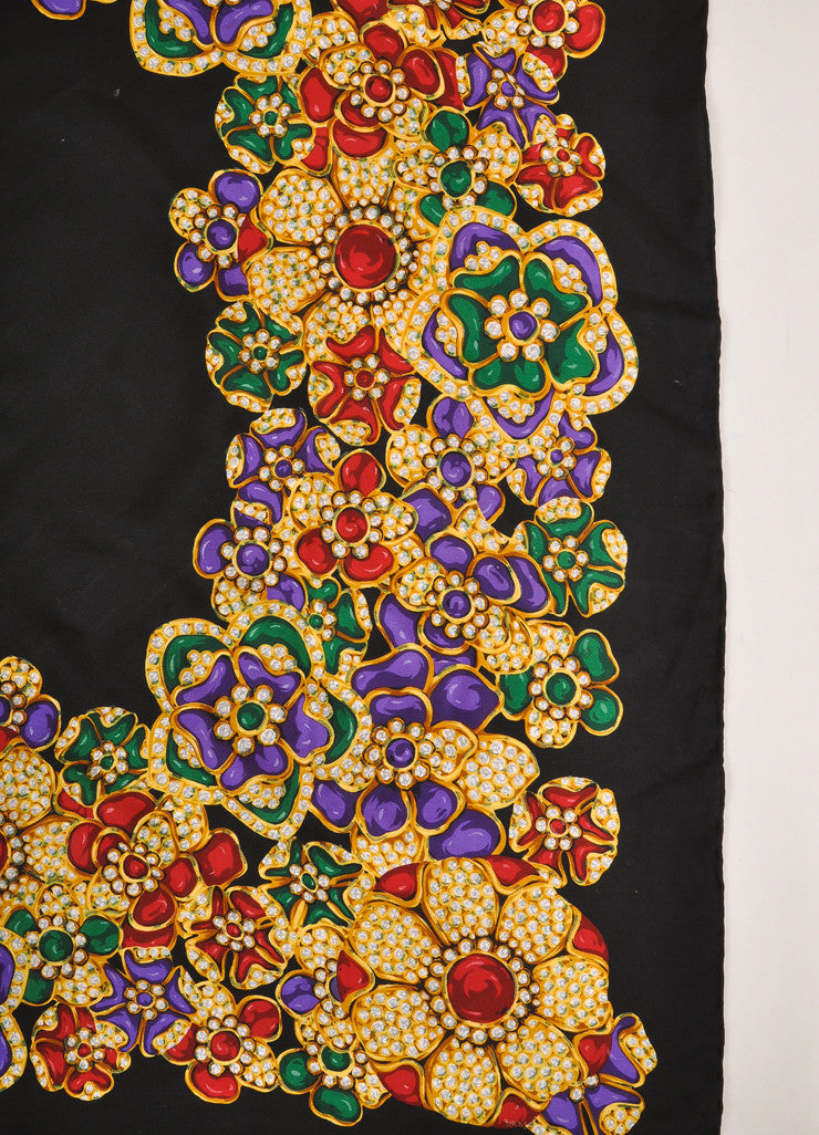 Chanel Black and Multicolor Jeweled Floral Print Silk Scarf Detail 2