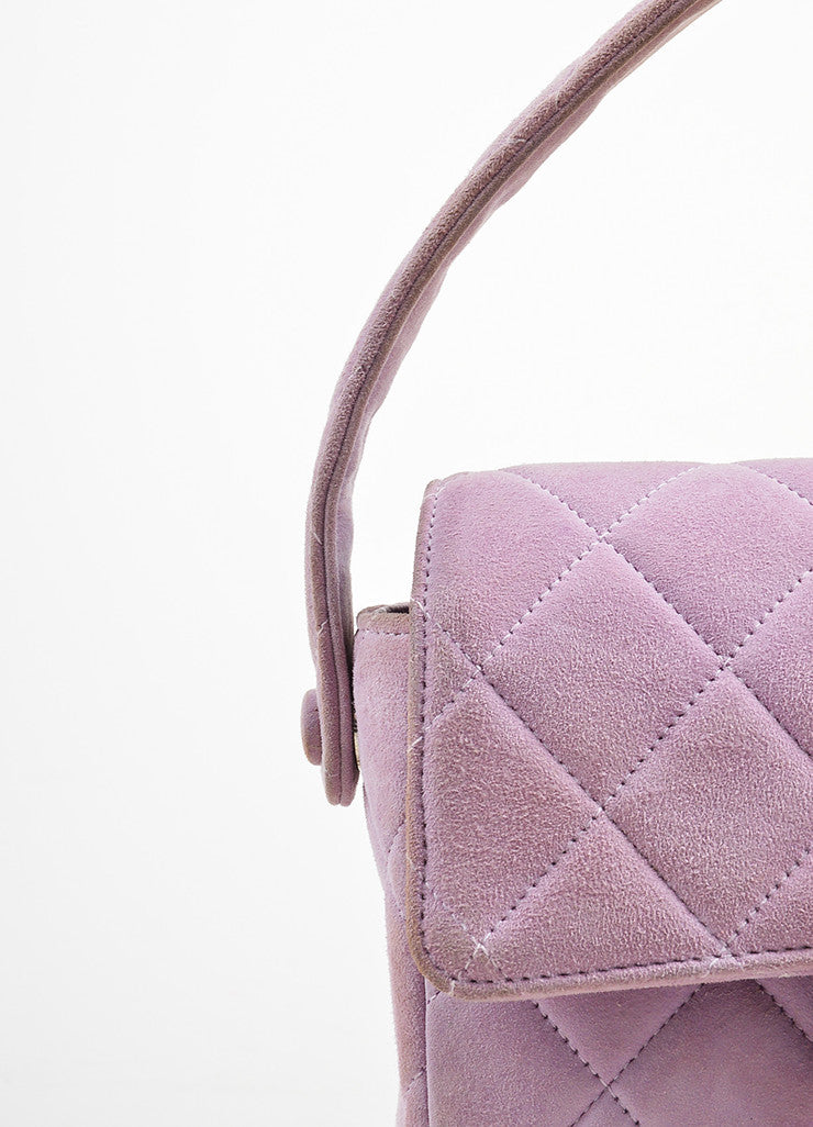 Lavender Purple Chanel Suede Quilted Turn Lock Mini Flap Purse Bag Detail 2