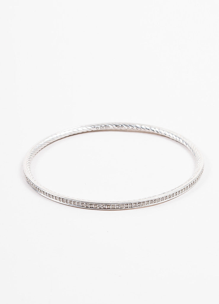 "David Yurman Sterling Silver and Diamond ""Cable Inside"" Bangle Bracelet Frontview"