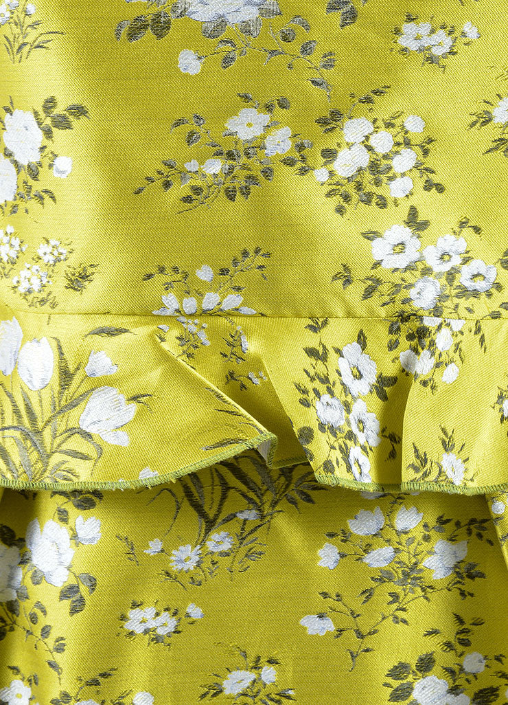 "Erdem Yellow and White Jacquard Floral Tiered Peplum Sleeveless ""Talia"" Dress Detail"