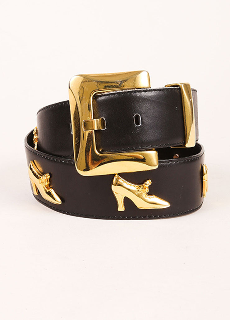 Escada Black and Gold Toned Leather Shoe Embellished Belt Frontview