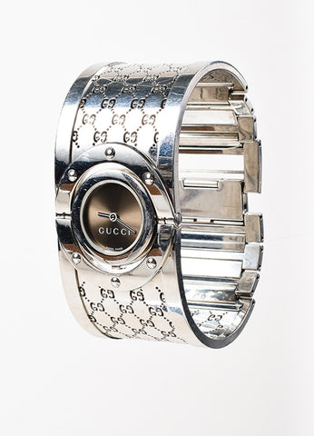 "Gucci Stainless Steel Brown ""Twirl"" Monogram Bangle Bracelet Watch Sideview"