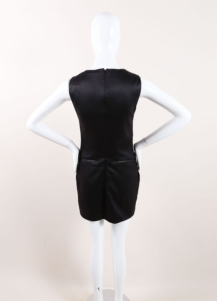 Gucci Black Silk Sleeveless Zipper Detail Shift Dress Backview