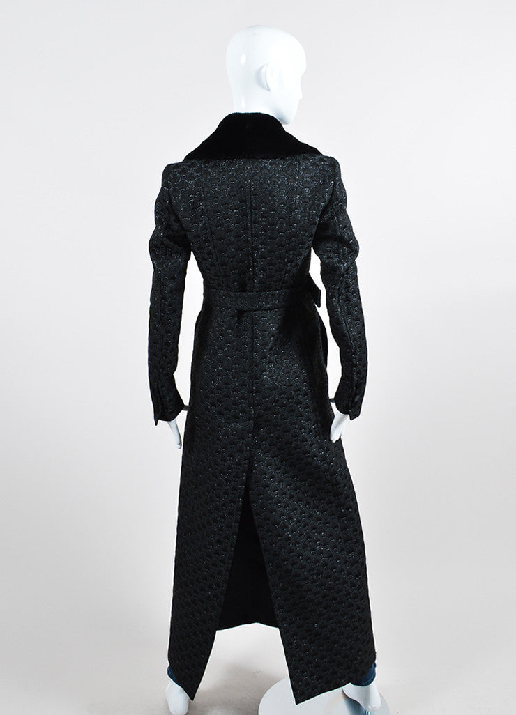 Black Gucci Wool and Silk Jacquard Fur Collar Belted Long Coat Backview