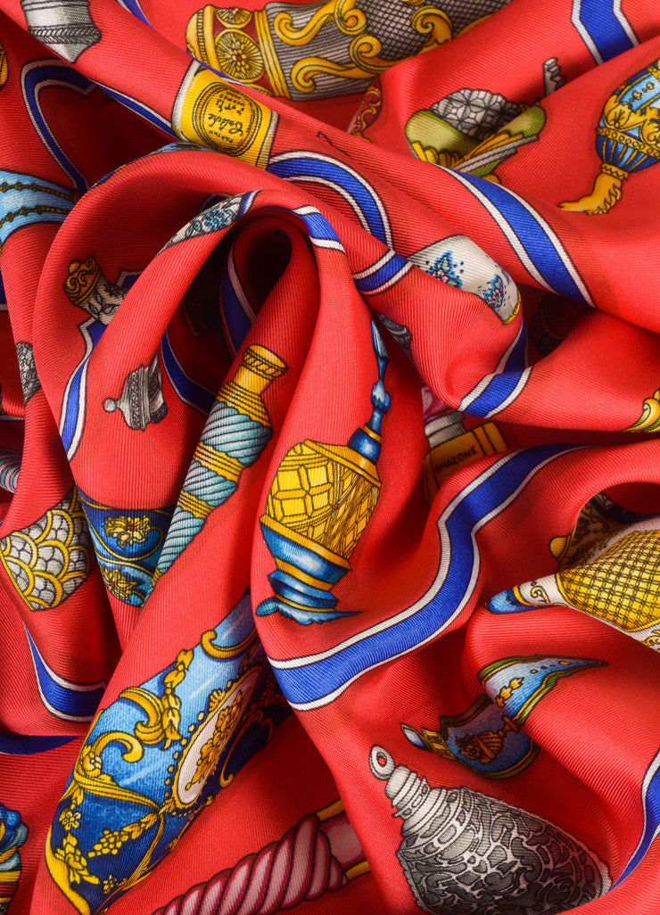 "Hermes Navy, Red, and Multicolor Perfume Bottle Print ""Qu'impore Le Flacon"" Silk Scarf Detail"