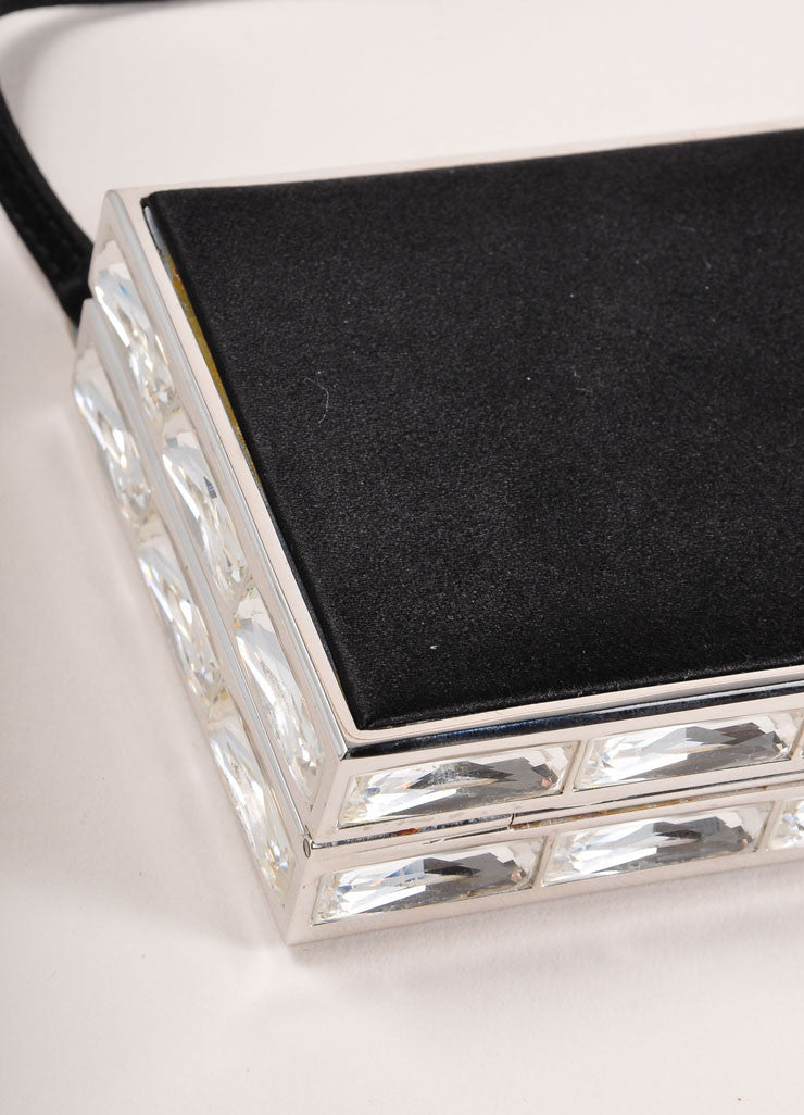 Judith Leiber Black Satin Rhinestone Embellished Box Clutch Bag Detail