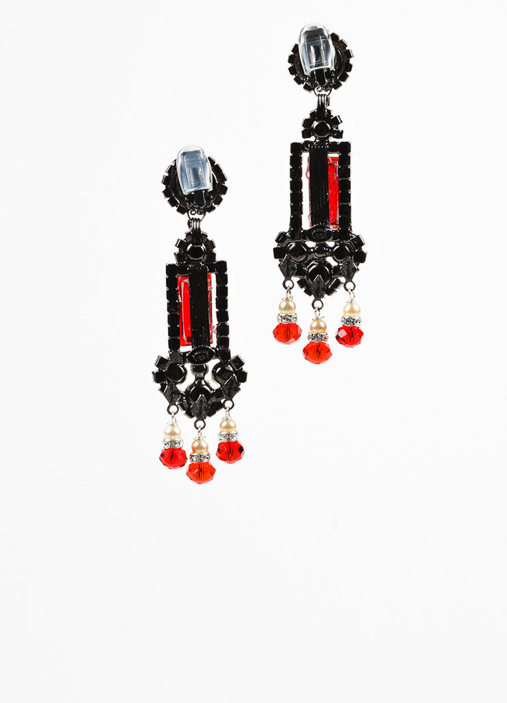 Lawrence VRBA Red and Blue Faux Pearl Crystal Art Deco Chandelier Earrings Backview
