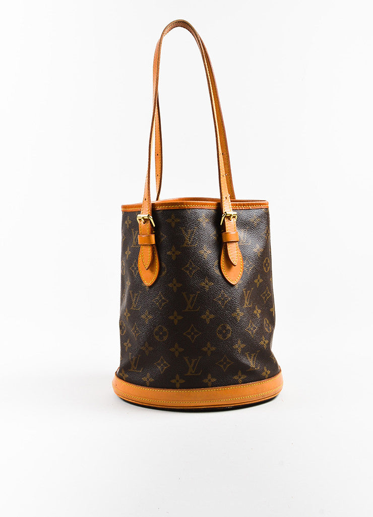 "Brown Louis Vuitton Coated Canvas 'LV' Monogram ""Petit Bucket"" Handbag Front"