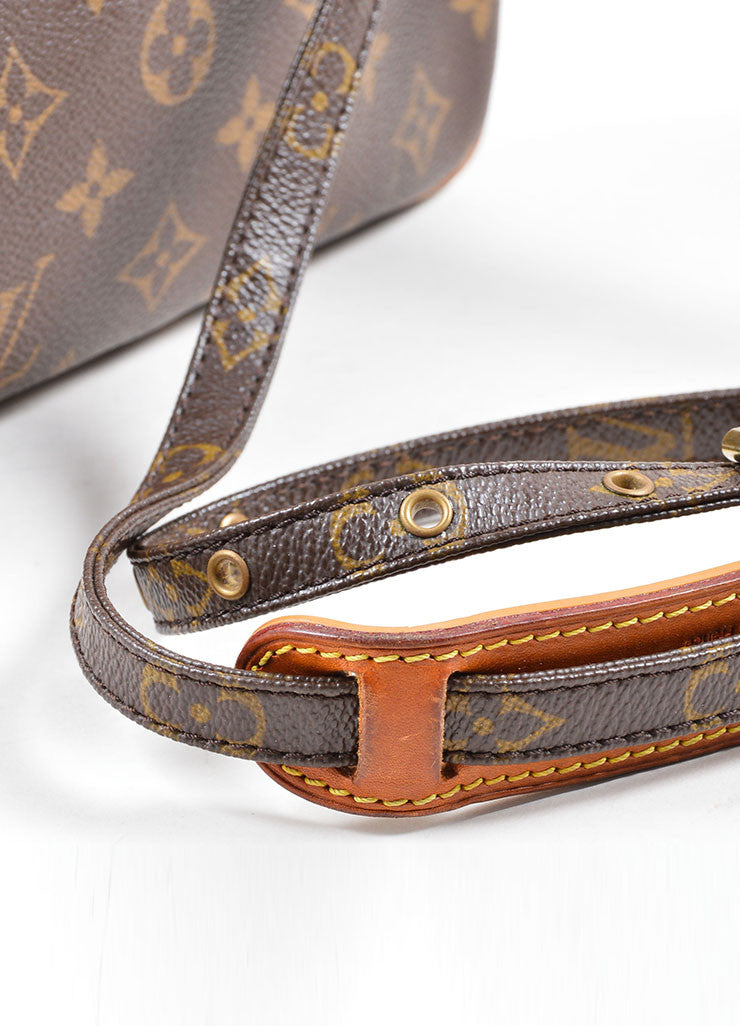 Louis Vuitton Brown Coated Canvas Leather Trim Cross Body Bag Detail 2