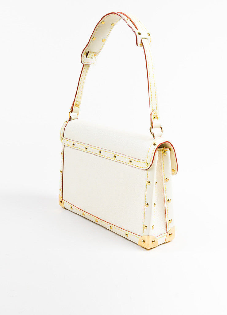 "Louis Vuitton Cream Gold Toned Suhali Leather Studded ""L'Aimable"" Bag Sideview"