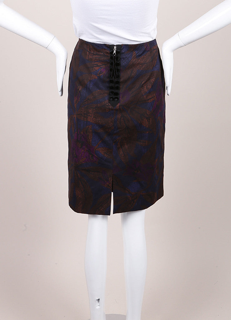 Marc Jacobs New With Tags Brown, Blue, and Purple Leaf Print Cotton Pencil Skirt Backview