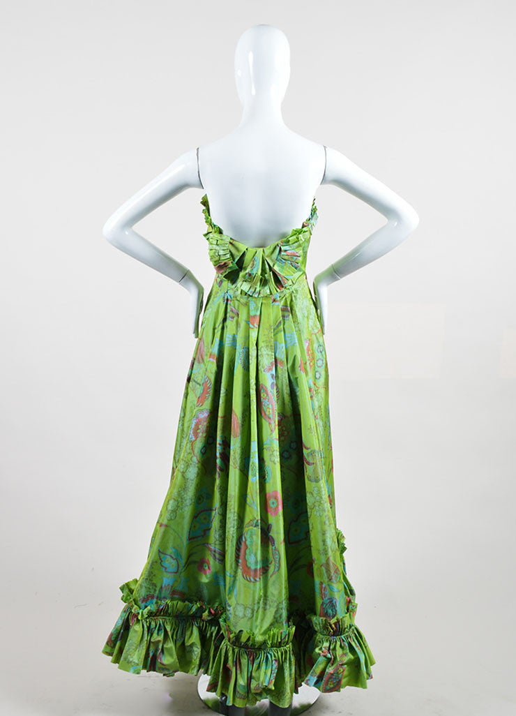 Green, Orange, and Blue Oscar de la Renta Floral Print Strapless Ruffled Gown Backview