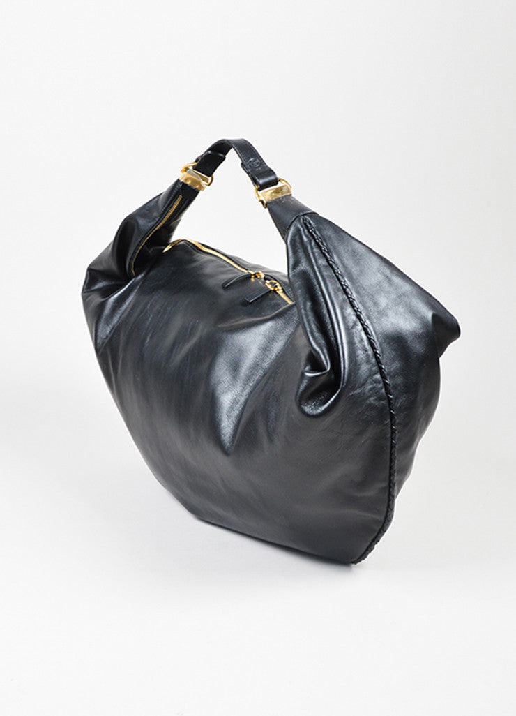 "The Row Black Calfskin Leather Oversized ""Sling 15"" Bag Sideview"