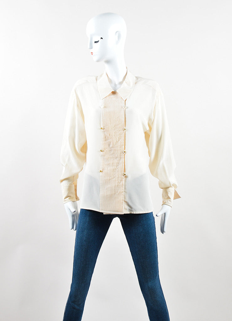 Chanel Cream and Peach Silk Pleated Clover Button Down Blouse Frontview