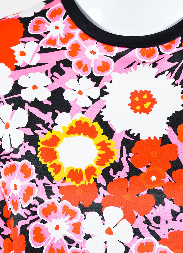 Multicolor Victoria Beckham Floral Sleeveless A Line Dress Detail