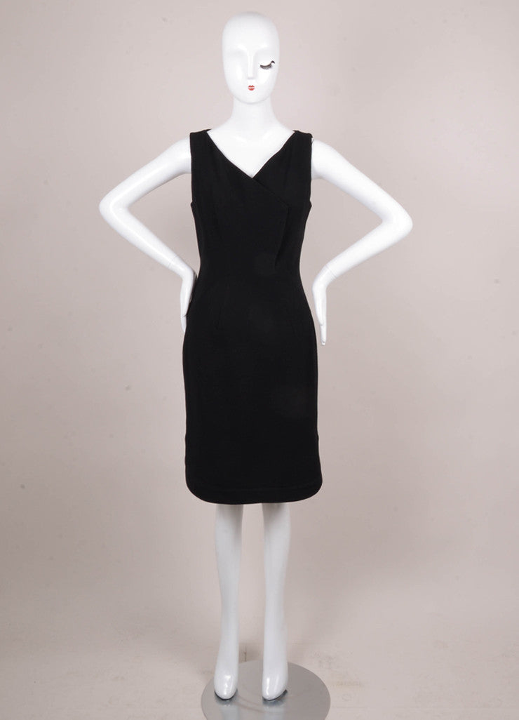 Black Stretch Wool Sleeveless Sheath Dress