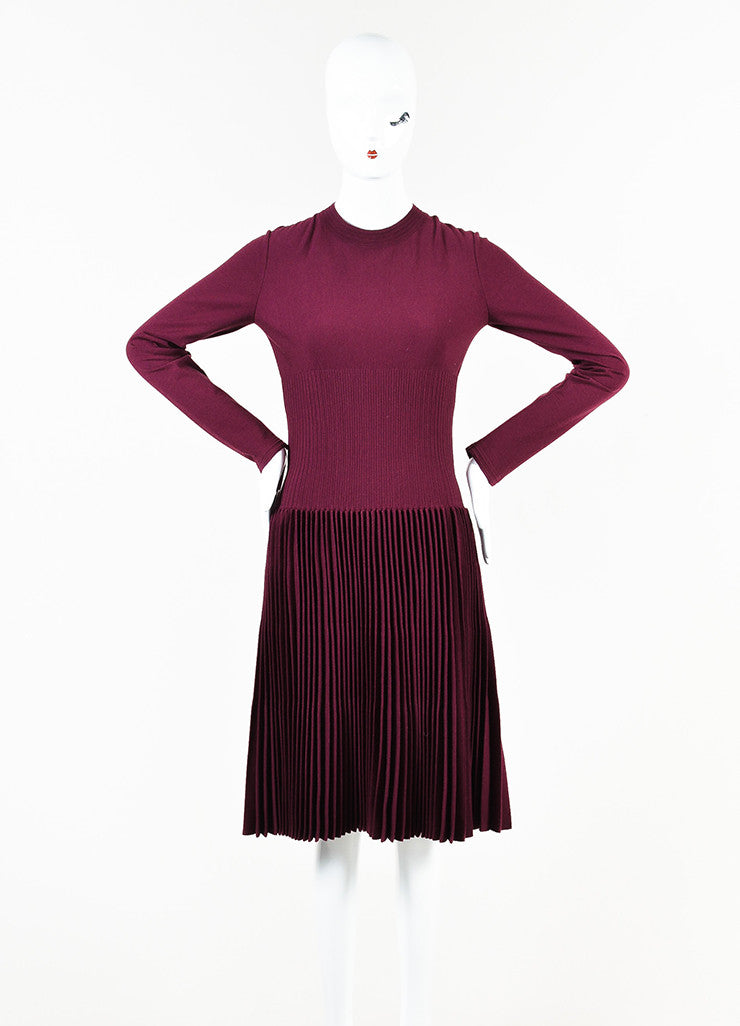 Alaia Berry Purple Wool Blend Knit Pleated A-Line Long Sleeve Sweater Dress frontview