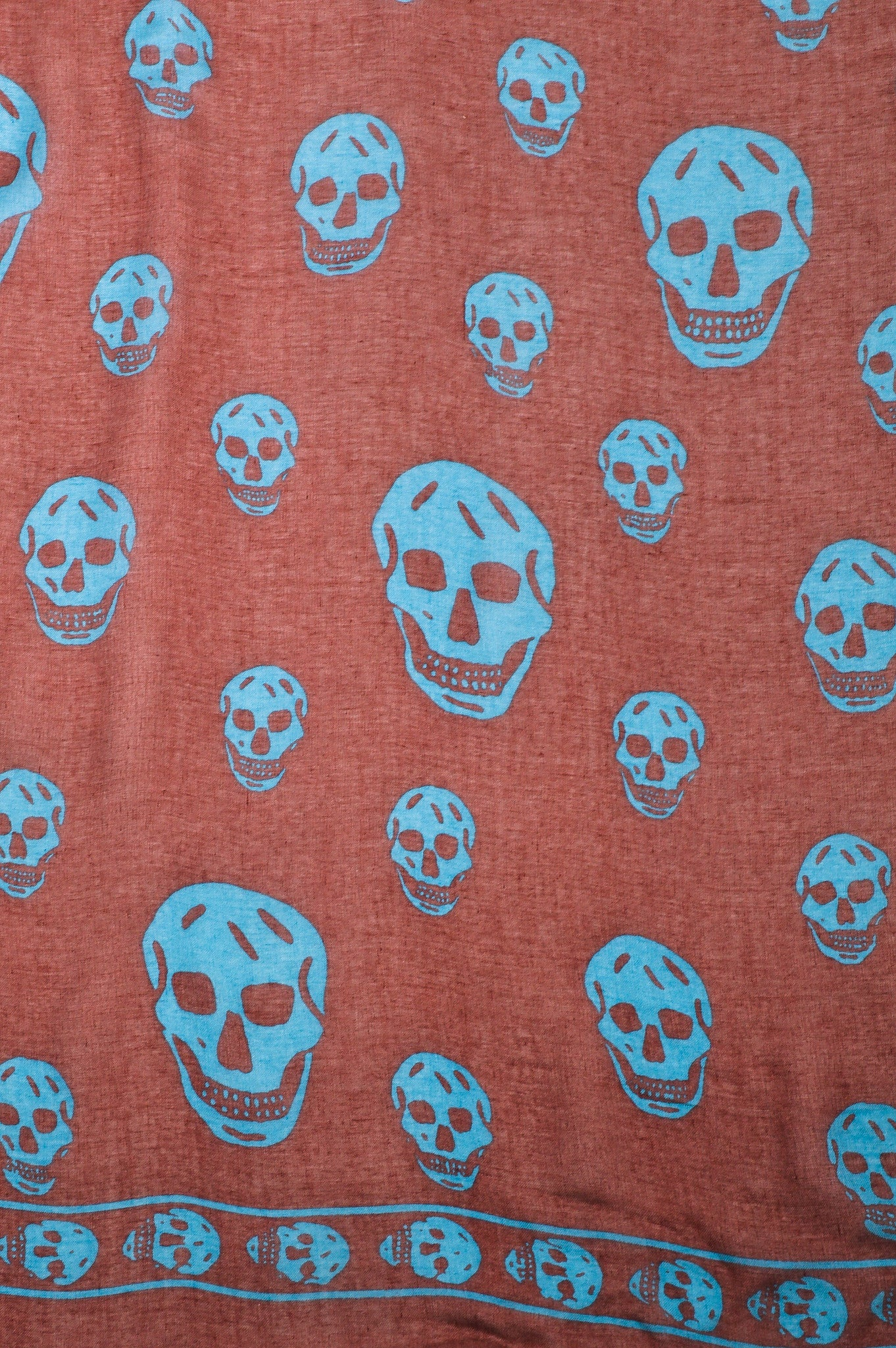 Maroon Blue Alexander McQueen Sheer Skull Print Frayed Square Scarf Detail