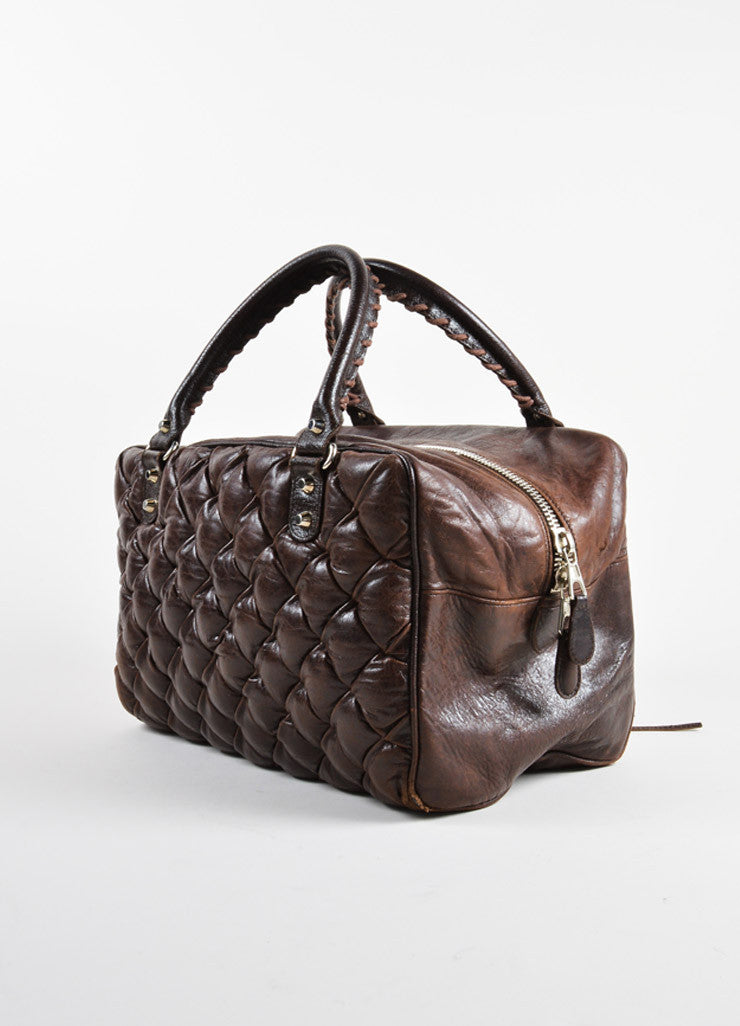 "Balenciaga Dark Brown Quilted Leather ""Matelasse"" Satchel Bag Sideview"