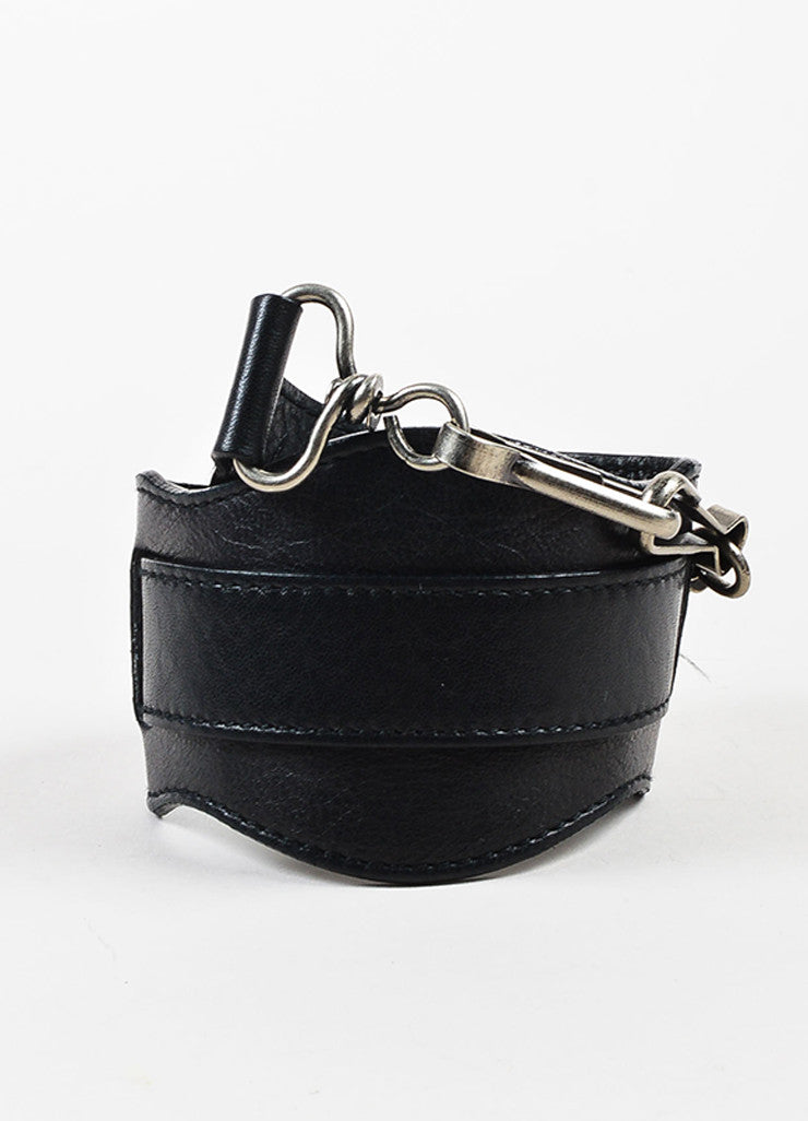 "Balenciaga Black Leather Silver Toned Hardware ""Classic First"" Shoulder Bag Strap"