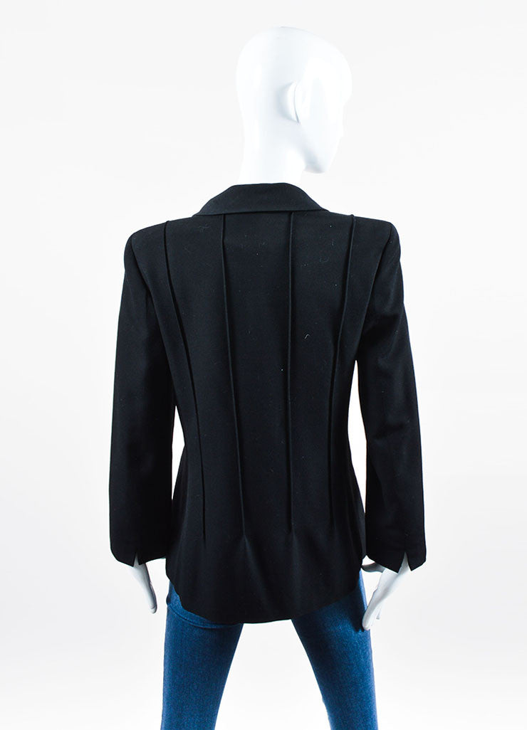 Black Chanel Double Breasted 'CC' Button Jacket Back