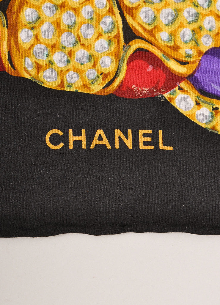 Chanel Black and Multicolor Jeweled Floral Print Silk Scarf Brand
