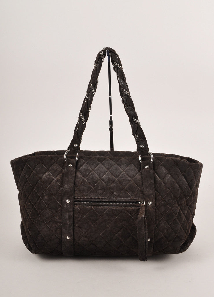 "Chanel Dark Brown Suede Quilted ""Lady Braid"" Tote Bag Frontview"