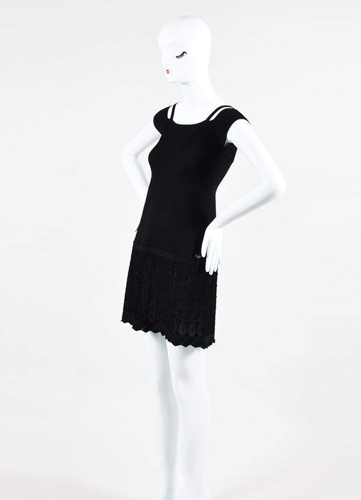 Black Chanel Rib Knit Crochet Shoulder Cut Out Short Sleeve Dress Sideview