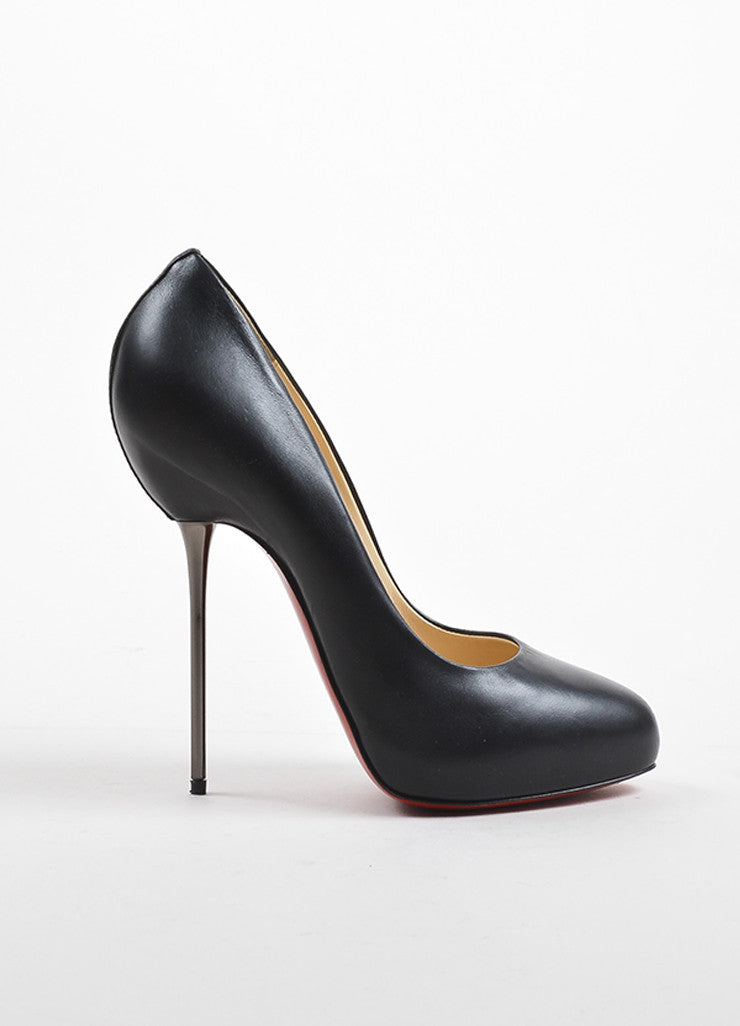 "Black Christian Louboutin Leather Stiletto Heel ""Big Lips 120"" Pumps Side"
