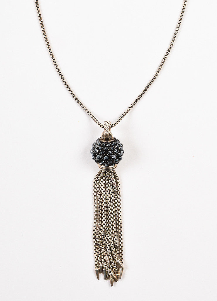 "David Yurman Sterling Silver and Hematite ""Osetra"" Tassel Pendant Necklace Detail"